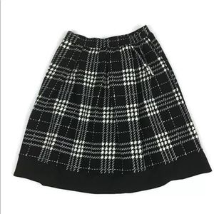 Houndstooth Plaid Pleated A-Line Skirt Pencil S